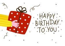 Birthday greeting card with gift. Box vector illustration