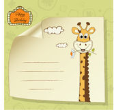 Birthday greeting card with giraffe Stock Photo