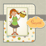 Birthday greeting card with girl Royalty Free Stock Image