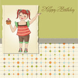 Birthday greeting card with girl Royalty Free Stock Images