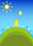 Birthday greeting card with girl with Balloon Stock Photography