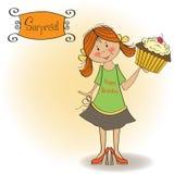 Birthday greeting card with girl and big cupcake Stock Photos