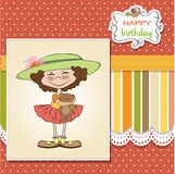 birthday greeting card with girl and her tedd royalty free illustration