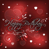 Birthday greeting card with hearts and floral pattern Royalty Free Stock Images