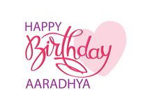 Birthday greeting card with Indian name Aaradhya. Elegant hand lettering and a big pink heart. Isolated design element stock illustration