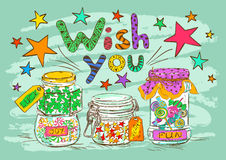 Birthday greeting card with jars and wishes Stock Photos