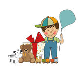 Birthday greeting card with little boy Stock Image