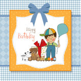 Birthday greeting card with little boy Stock Photography