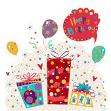 Birthday greeting card made of gifts, balloons. Birthday invitation.Birthday party.Greeting card with balloons. Vector Stock Photography