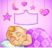 Birthday greeting card for newborn girl Royalty Free Stock Photo