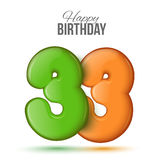 Birthday. Greeting card with numbers 33, thirty three Stock Images