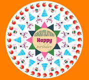 Birthday greeting card orange background. Assorted apples candy and cakes vector Royalty Free Stock Photo