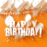 Birthday greeting card. With paper balloons on orange background/flat design style Stock Images