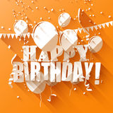 Birthday greeting card. With paper balloons on orange background/flat design style Stock Photos