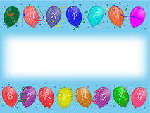 Birthday greeting card with party balloons. Horizontal align greeting card with colored party balloons with Happy Birthday text on blue background with white Stock Images