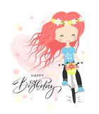 Birthday greeting card and party invitation templates. Cute little girl with bunch of flowers riding a bike.Vector illustration stock illustration