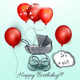 Birthday greeting card with red balloons and baby carriage Stock Photography