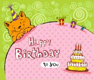 Birthday greeting card with red cat Stock Images