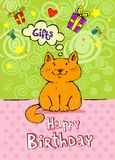 Birthday greeting card with red cat Stock Image