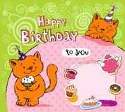 Birthday greeting card with red cats Stock Photography
