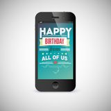 Birthday greeting card on screen of mobile phone.  Royalty Free Stock Photo