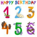 Birthday greeting card set. Cartoon Illustration Design of the Birthday Greeting Cards Set for Children Stock Photos