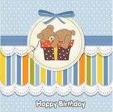 Birthday greeting card with teddy stock illustration