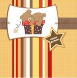 Birthday greeting card with teddy bear Stock Image
