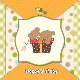 Birthday greeting card with teddy bear Royalty Free Stock Image