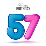 Birthday greeting card template with glossy fifty seven shaped balloon Stock Images