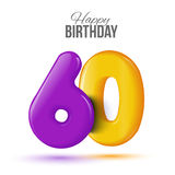 Birthday greeting card template with glossy fifty shaped balloon. Sixty birthday greeting card template with 3d shiny number sixty balloon on white background Royalty Free Stock Photos