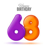 Birthday greeting card template with glossy fifty shaped balloon. Sixty eight birthday greeting card template with 3d shiny number sixty eight balloon on white Royalty Free Stock Photos