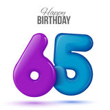 Birthday greeting card template with glossy fifty shaped balloon. Sixty five birthday greeting card template with 3d shiny number sixty five balloon on white Royalty Free Stock Photography