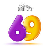 Birthday greeting card template with glossy fifty shaped balloon Stock Images