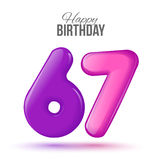 Birthday greeting card template with glossy fifty shaped balloon Stock Photography