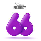 Birthday greeting card template with glossy fifty shaped balloon. Sixty six birthday greeting card template with 3d shiny number sixty six balloon on white stock illustration