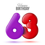 Birthday greeting card template with glossy fifty shaped balloon. Sixty three birthday greeting card template with 3d shiny number sixty three balloon on white Royalty Free Stock Photo