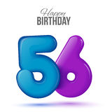 Birthday greeting card template with glossy fifty six shaped balloon. Fifty six birthday greeting card template with 3d shiny number fifty six balloon on white Royalty Free Stock Image