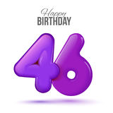 Birthday greeting card template with glossy forty six shaped balloon. Forty six birthday greeting card template with 3d shiny number forty six balloon on white Stock Image