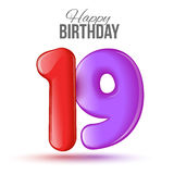 Birthday greeting card template with glossy number nineteen shaped balloon Stock Photos
