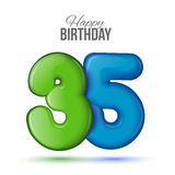 Birthday greeting card template with glossy thirty five shaped balloon Stock Photo