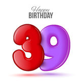 Birthday greeting card template with glossy thirty nine shaped balloon Stock Images