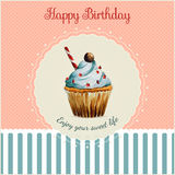 Birthday greeting card template with watercolor. Cupcake illustration and typographic in retro style Stock Photo