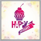 Birthday greeting card vector design. Includes beautiful letteri. Ng and cupcake composition placed over blurred circles abstract background. Square shape format stock illustration
