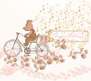 Birthday Greeting Card With Art Bicycle, Bear, Gifts And Flowers Royalty Free Stock Photography