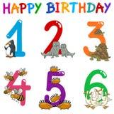 Birthday greeting cards. Cartoon Illustration Design of the Birthday Greeting Cards Set for Children Royalty Free Stock Image