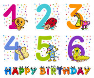 Birthday greeting cards collection. Cartoon Illustration Design of the Birthday Greeting Cards Set for Children Stock Images