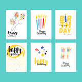 Birthday greeting cards collection Stock Photo