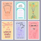 Birthday greeting cards. Set of birthday greeting cards design.Vector illustration vector illustration