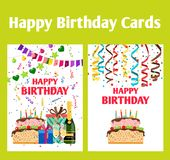 Birthday greeting cards set. Set of two birthday greeting cards with champagne, ribbons, gifts and a cake, vector illustration Stock Photos